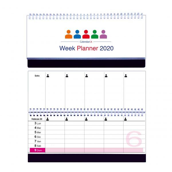 calendario 2020 famiglia tavolo a 5 colonne