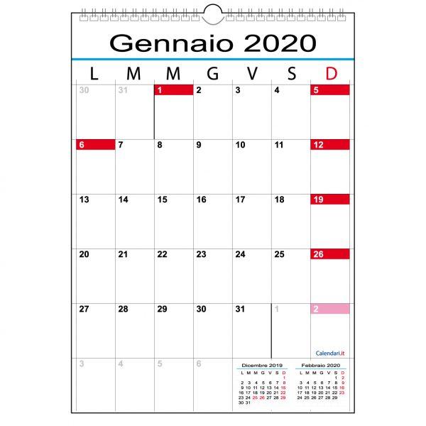 calendario 2020 caselle muro 12 mesi