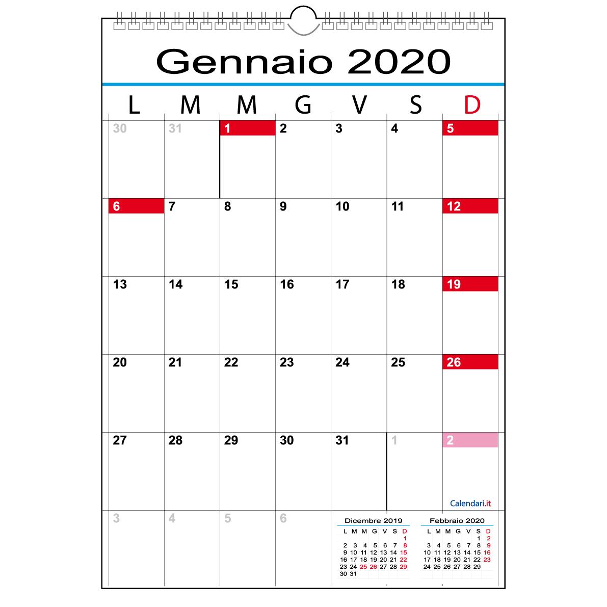 Calendario 2020 Con Numero Settimane.Calendario 2020 Con 12 Mesi A Caselle Tabellare Mensile