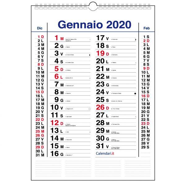 calendario 2020 da muro mod. olandese con santi lune e spazio per appunti