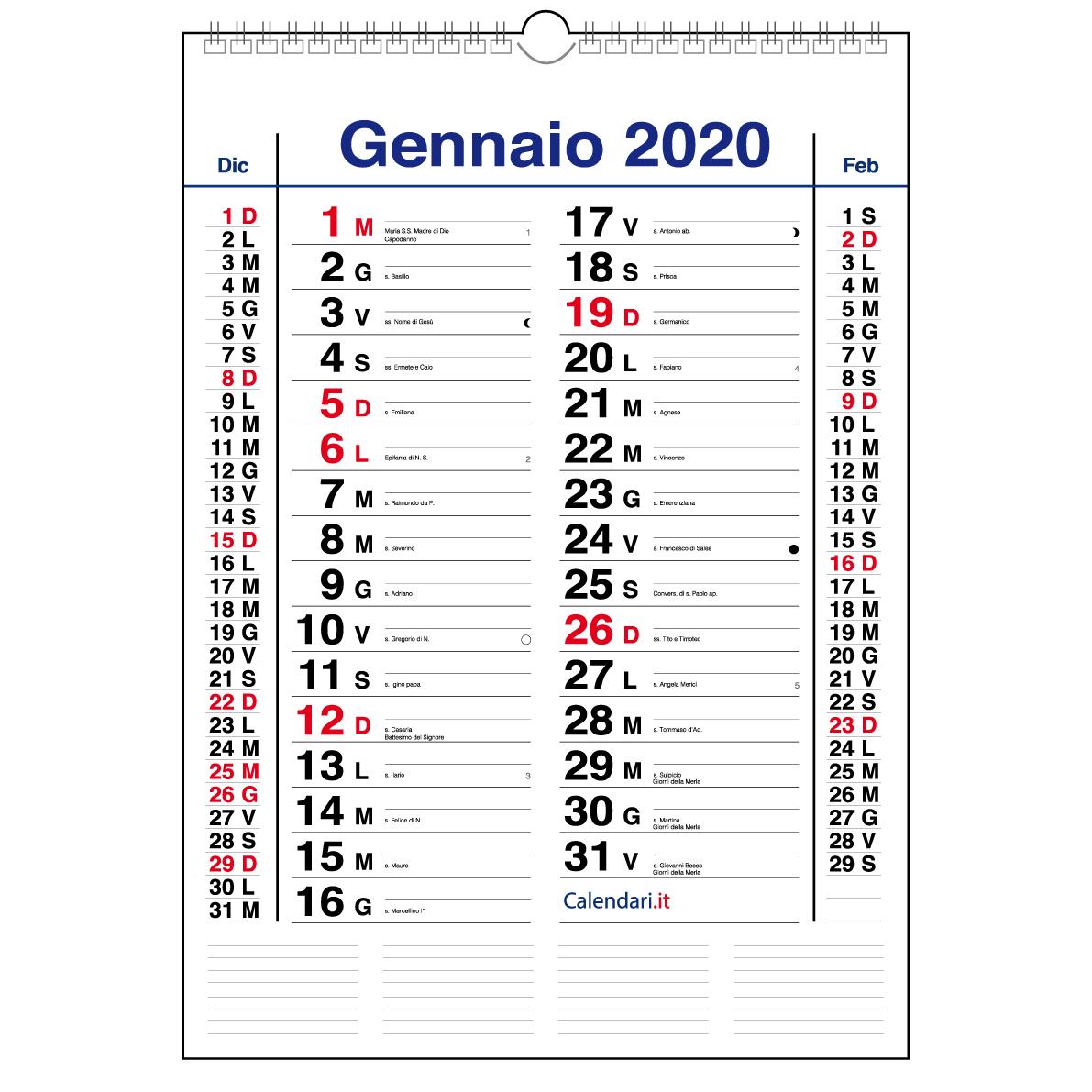 Calendario 2020 Con Numero Settimane.Calendario 2020 Da Muro Olandese 30x42 Cm Santi E Lune