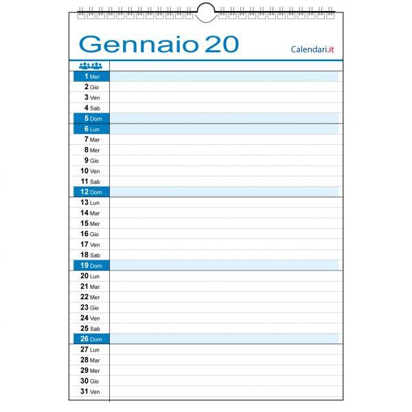 Calendario 2020 famiglia 1 colonne casa lavoro ufficio appuntamenti