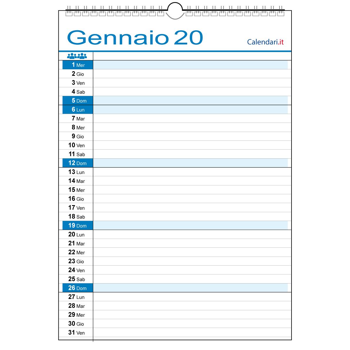 Calendario Iva 2020.Calendario 2020 Famiglia Con 1 Colonna Persona Lavoro