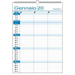 Calendario 2020 famiglia 3 colonne casa lavoro ufficio appuntamenti