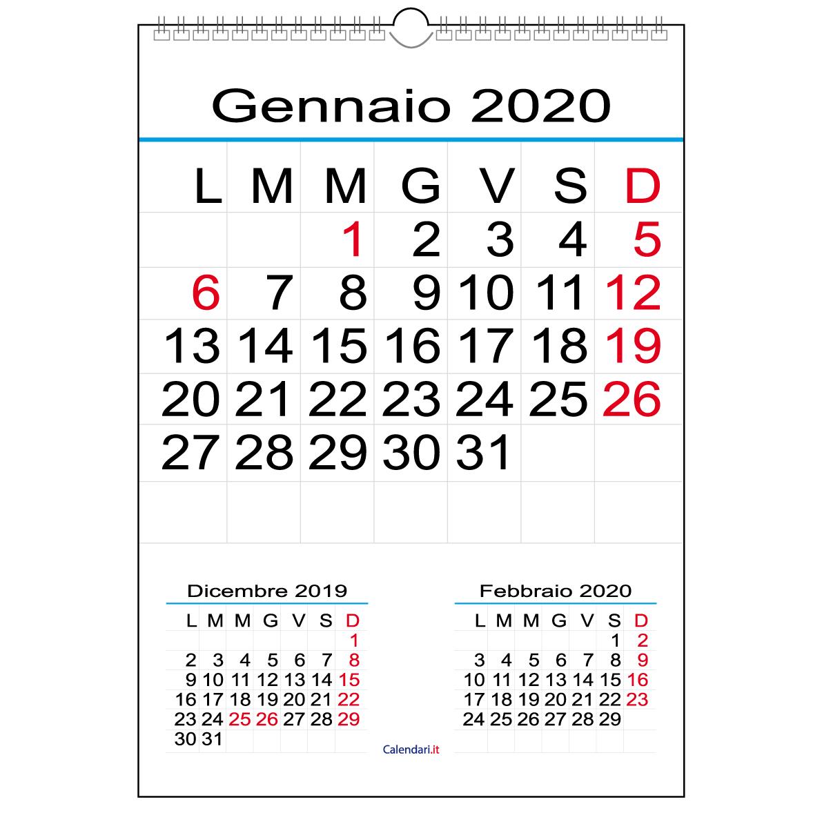 Calendario 2020 Con Numero Settimane.Calendario 2020 Con 12 Mesi E Numeri Grandi