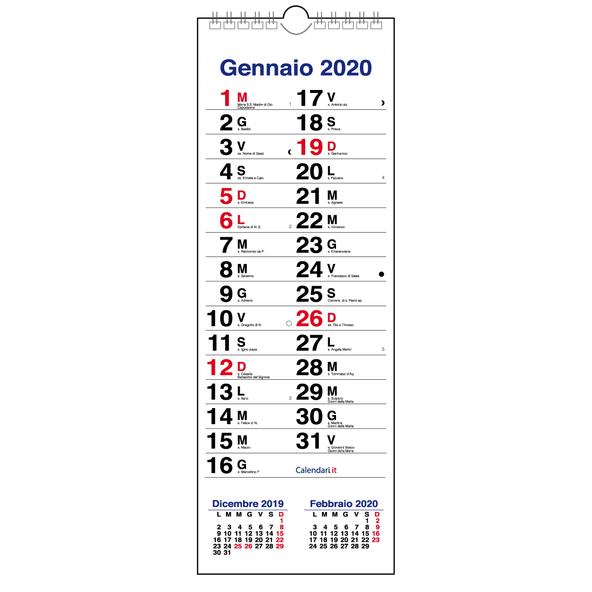 Calendario 2020 Da Parete.Calendario 2020 Mod Olandese Slim Stretto 15x42 Cm