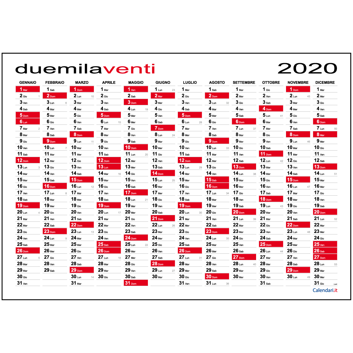Calendario It.Calendario 2020 Planner Planning Da Muro 118x84 Cm Maxi O 84x60 Cm Standard Calendario 2020 Annuale