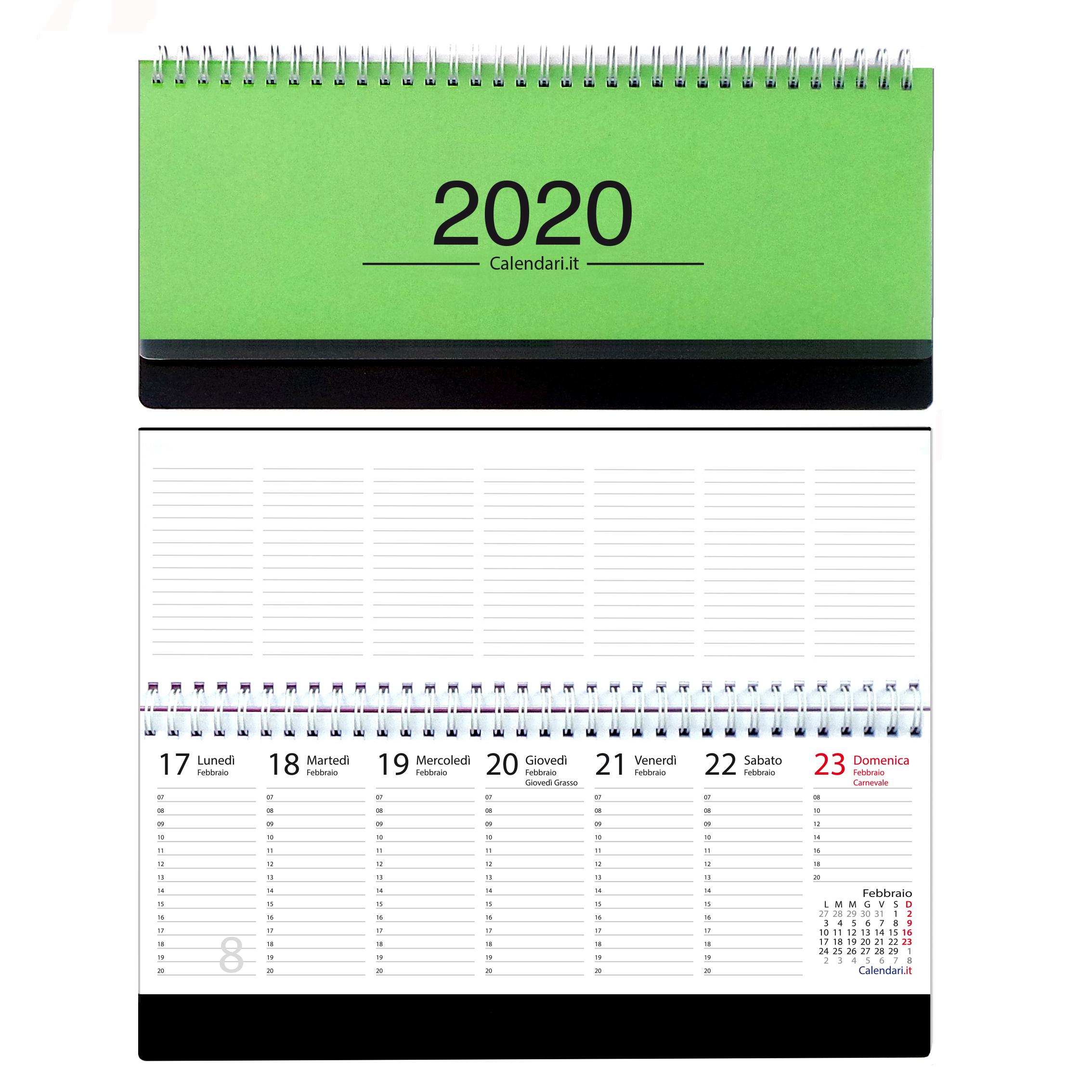 Calendario 2020 Con Le Settimane.Agenda 2020 Settimanale Planning Da Ufficio 30x13 Verde Chiaro