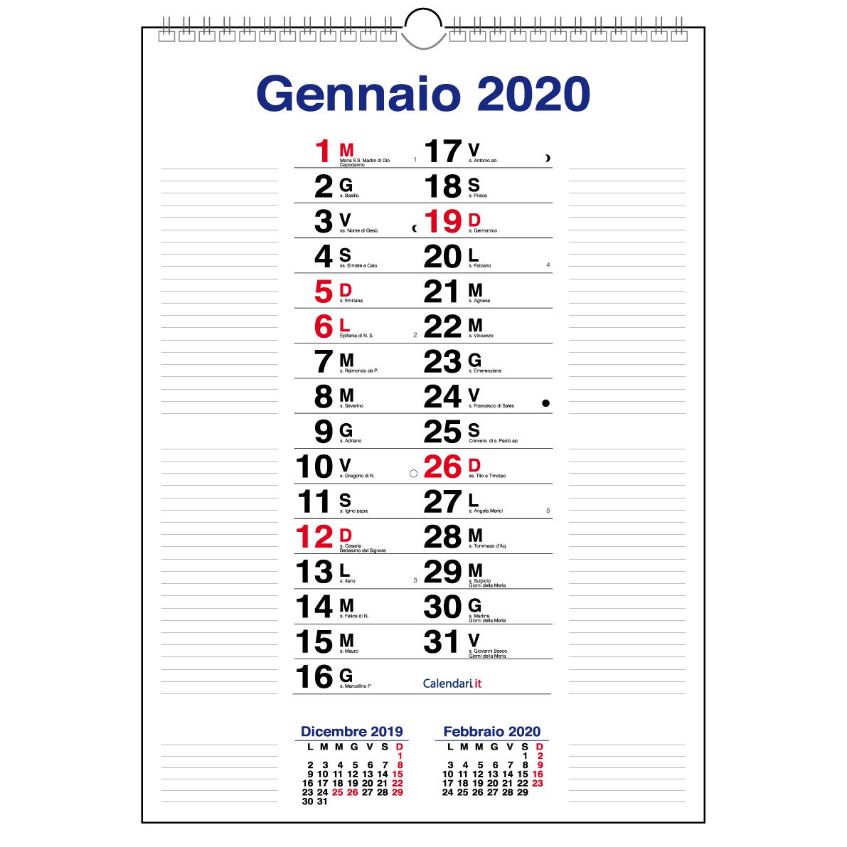 Calendario Dicembre 2020 Con Santi.Calendario 2020 Da Muro Mod Olandese Con Righe Ai Lati 30x42 Cm