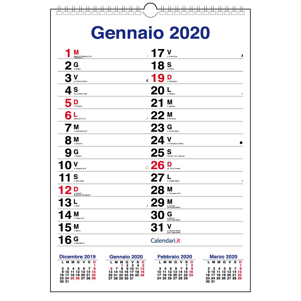 Calendario Condiviso Su Whatsapp.Calendario 2020 Da Muro Mod Xl Con Piu Spazio Per Scrivere