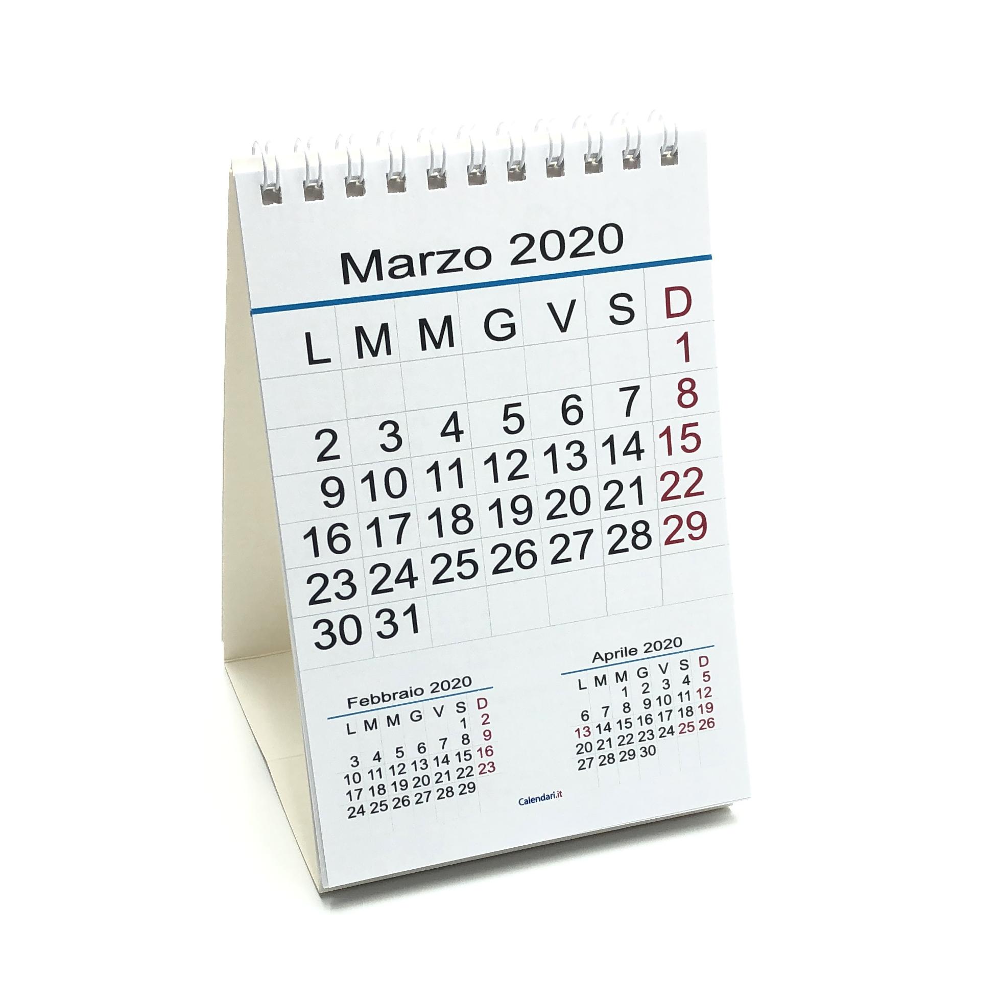 Calendario Febbraio Marzo 2020.Calendario 2020 Tavolo Numeri Grandi 3 Mesi 10x15 Cm