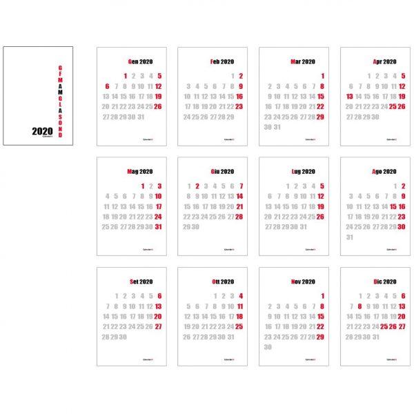 calendario 2020 con numeri minimal