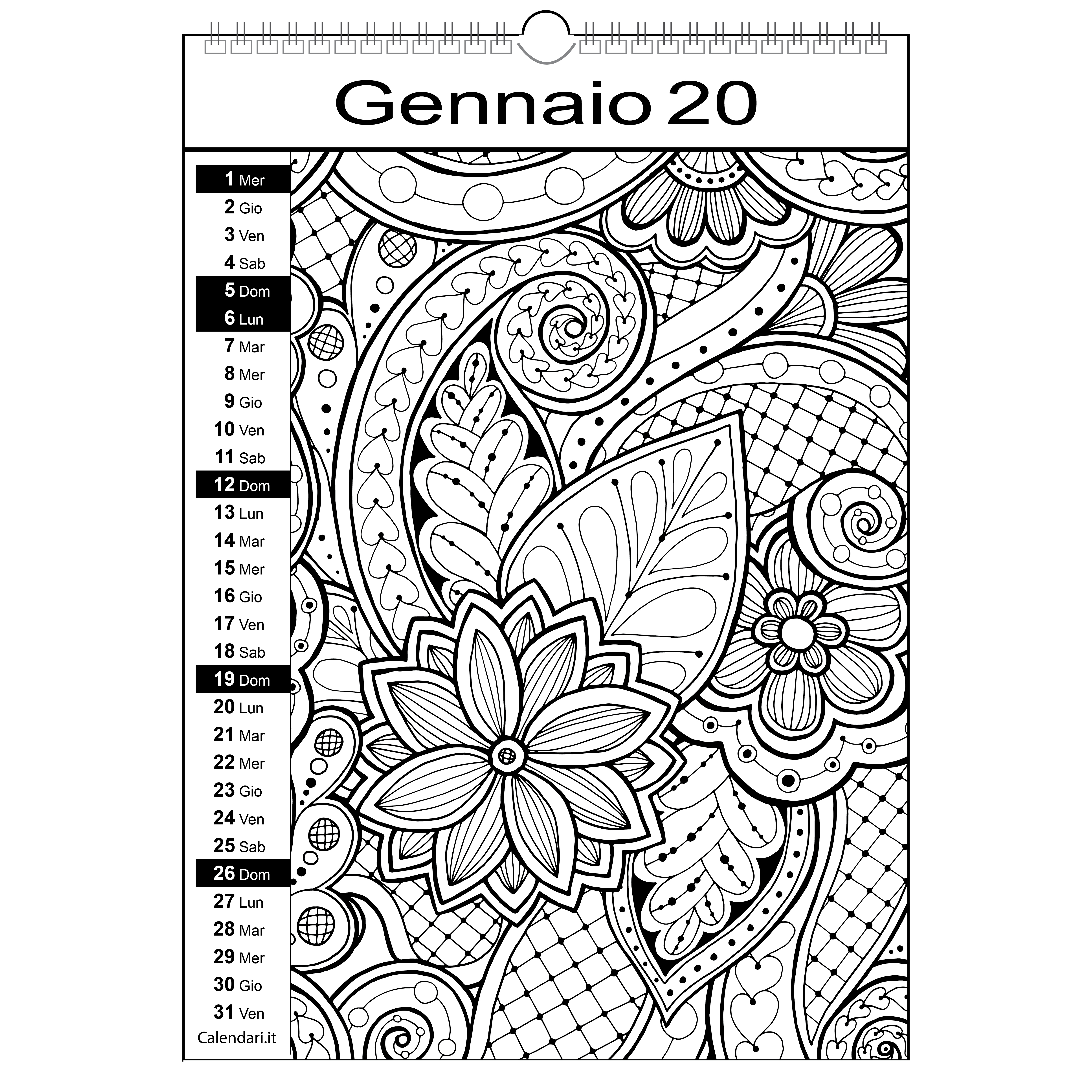 Calendario 2020 Da Colorare Per Bambini.Calendario 2020 Da Colorare Mandala Calendari It