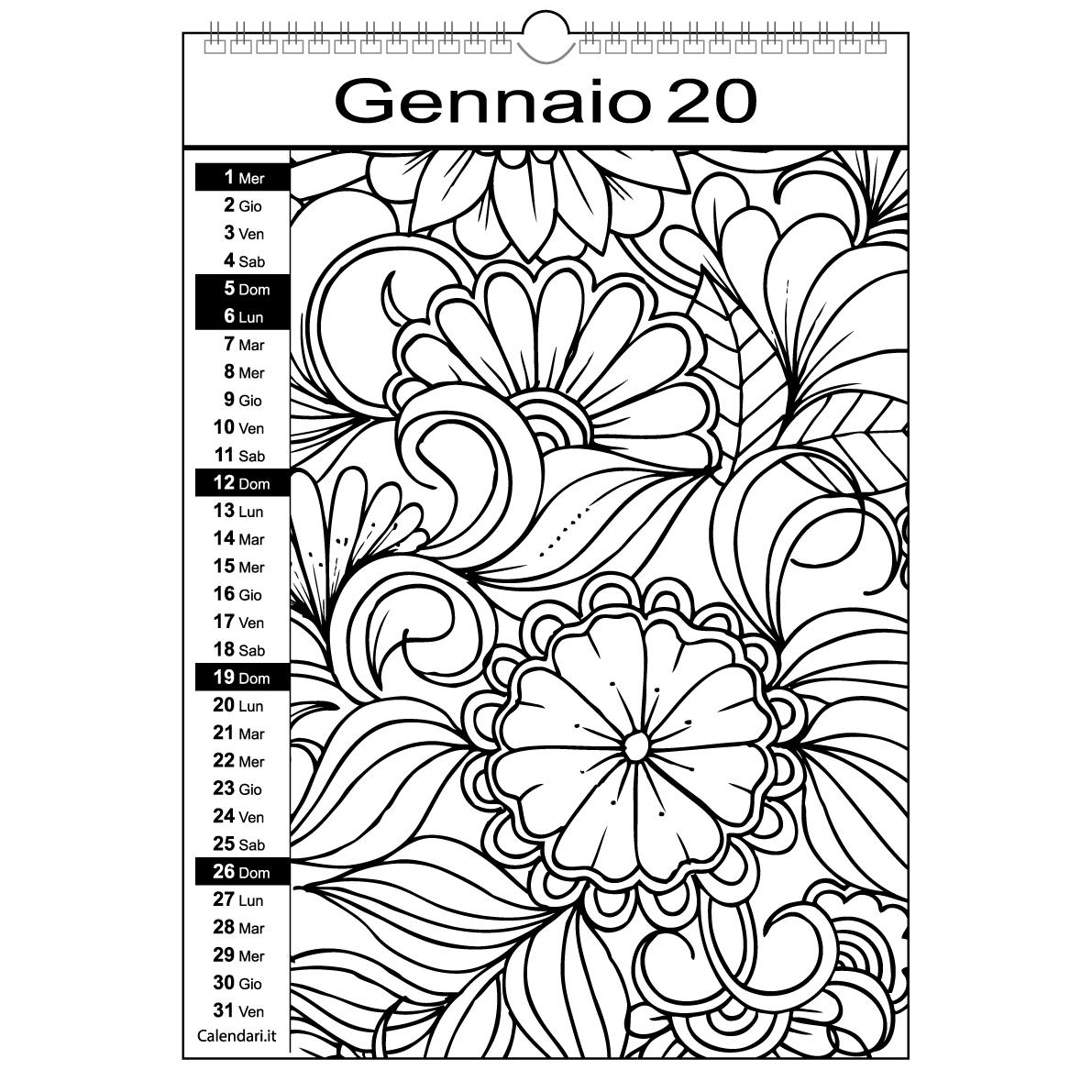 Calendario 2020 Da Colorare Mandala Calendari It Calendari