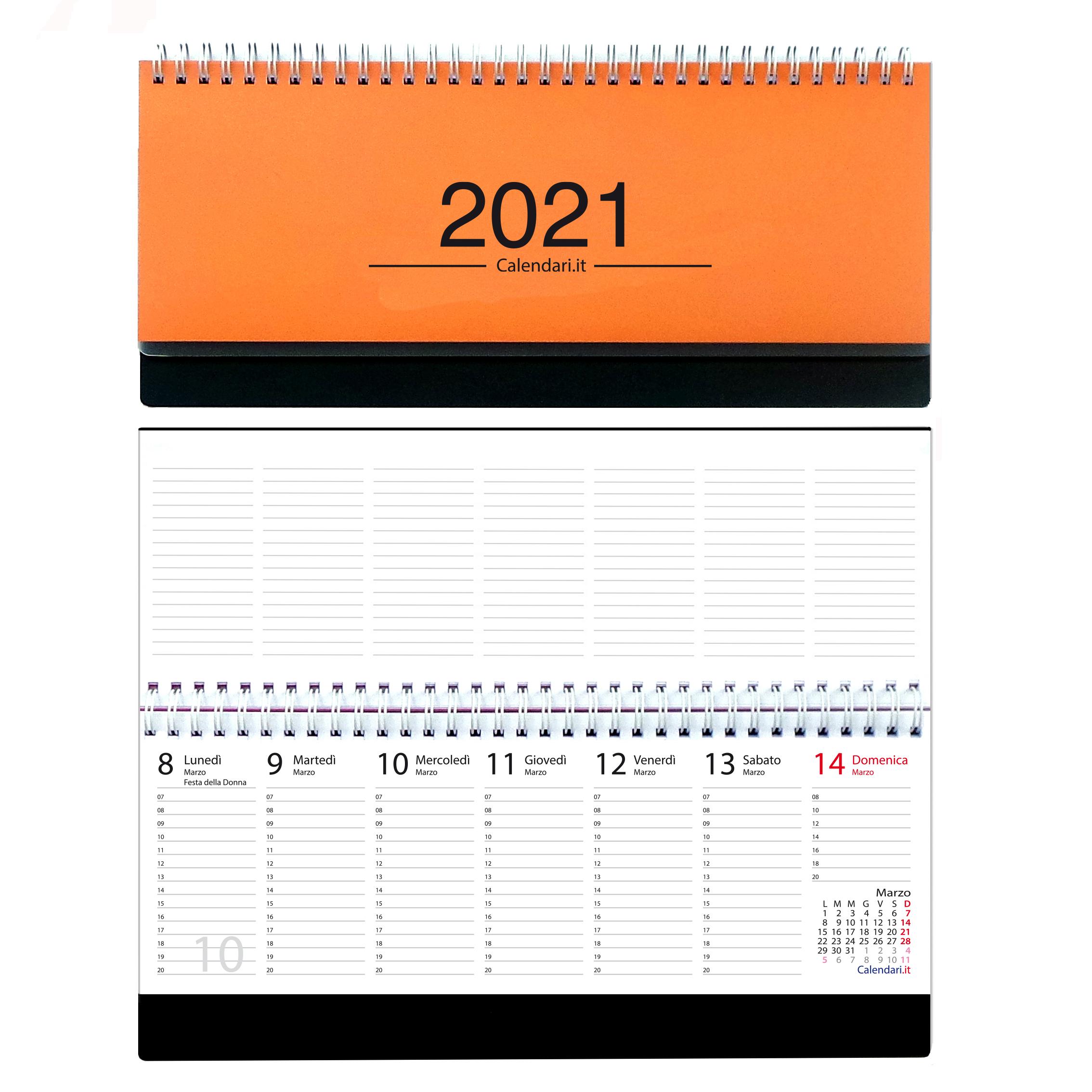 Calendario 2021 Arancione Agenda 2021 settimanale 10 colori planning da ufficio orizzontale
