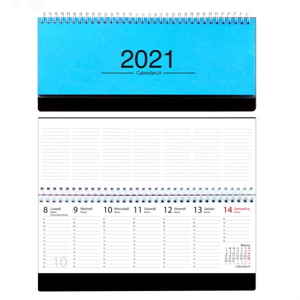 agenda 2021 settimanale da tavolo orizzontale ufficio appunti scrivania tavolo lavoro calendario 2021 azzurro