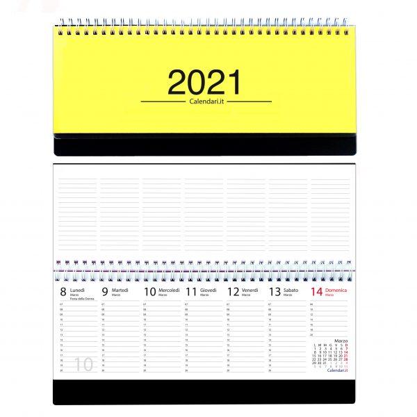 agenda 2021 settimanale da tavolo orizzontale ufficio appunti scrivania tavolo lavoro calendario 2021 giallo