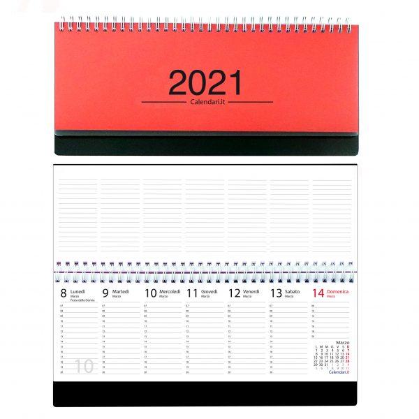 agenda 2021 settimanale da tavolo orizzontale ufficio appunti scrivania tavolo lavoro calendario 2021 rosso