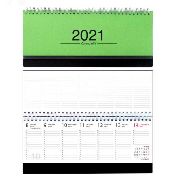 agenda 2021 settimanale da tavolo orizzontale ufficio appunti scrivania tavolo lavoro calendario 2021 verde chiaro