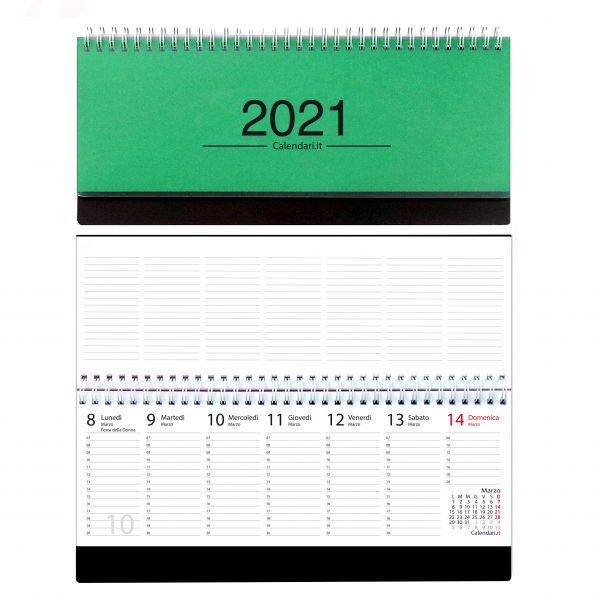 agenda 2021 settimanale da tavolo orizzontale ufficio appunti scrivania tavolo lavoro calendario 2021 verde scuro
