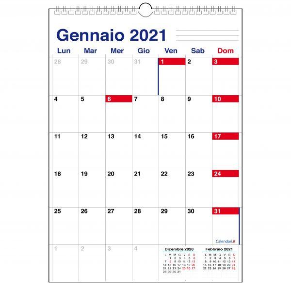 calendario 2021 caselle da muro con spazio per scrivere appunti ufficio 12 mesi spirale