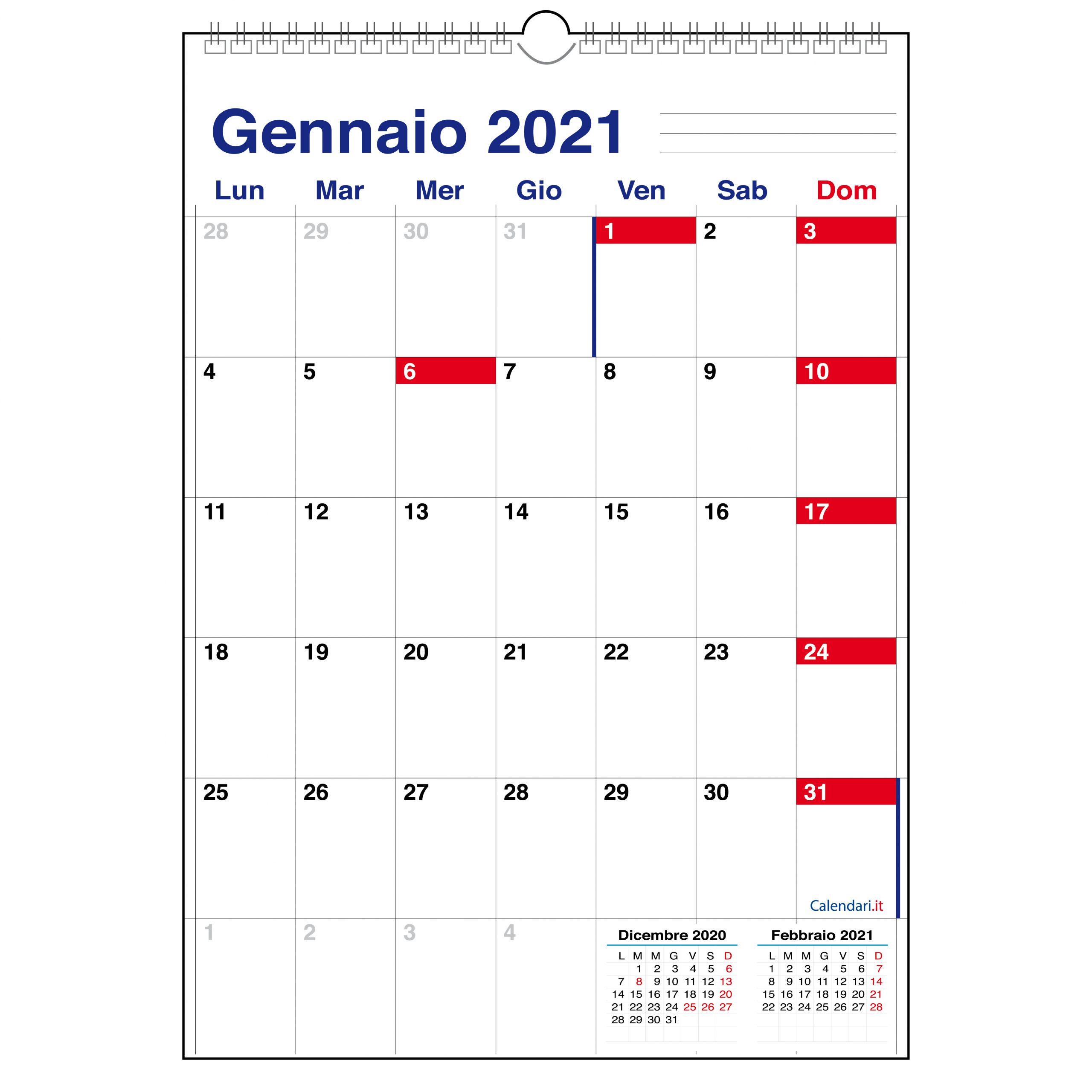 Calendario 2021 con 12 mesi a caselle tabellare mensile