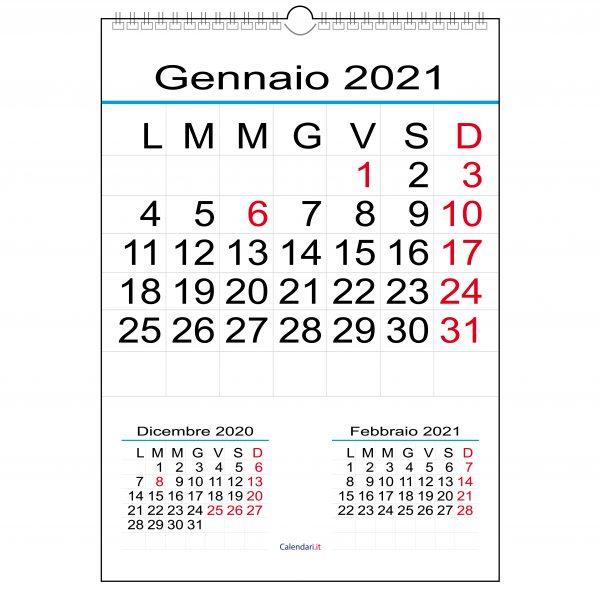 calendario 2021 numeri grandi da parete 12 mesi ufficio lettura da lontano