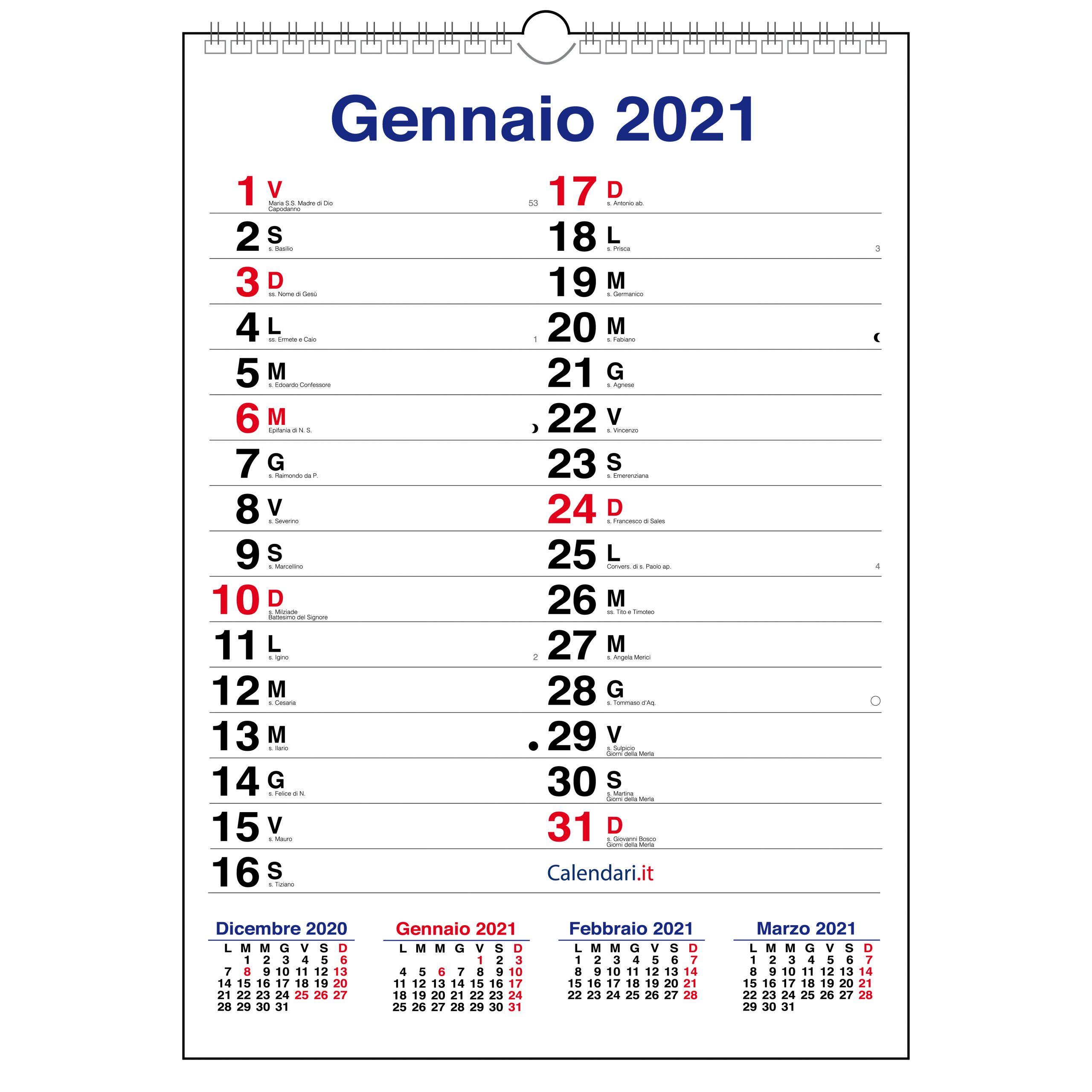 Calendario 2021 olandese da muro mensile con santi, lune e settimane