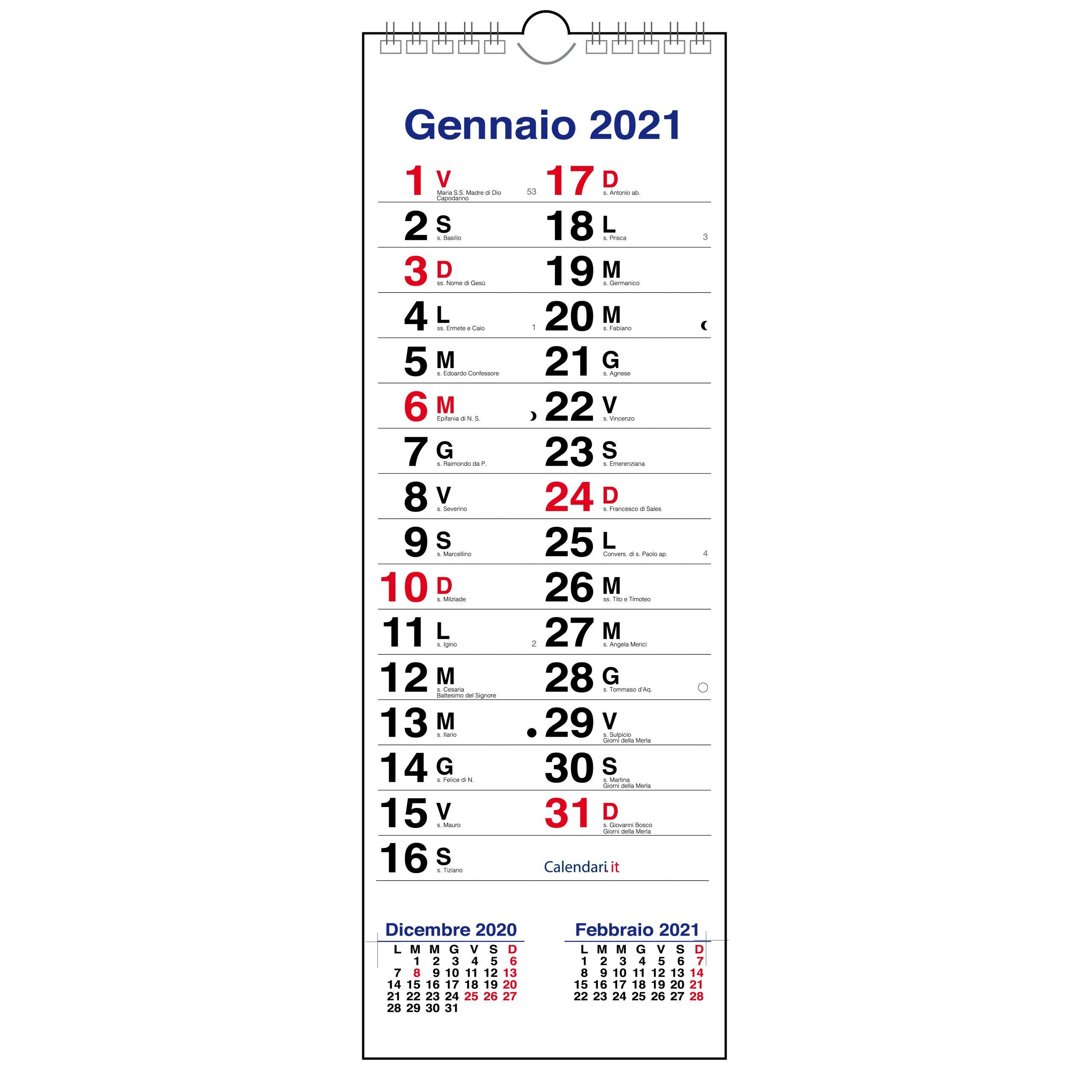 Calendario 2021 olandese da muro stretto sottile righe per appunti