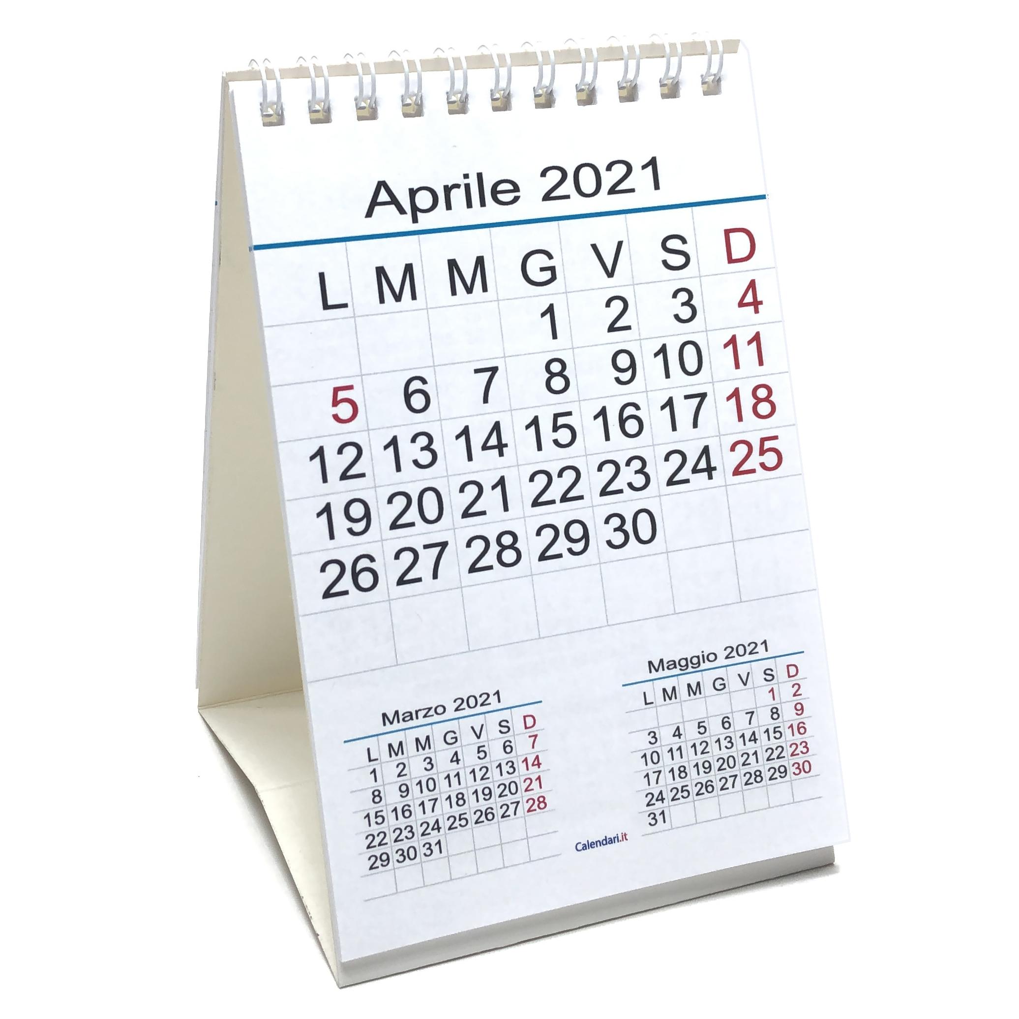 Calendario 2021 tavolo numeri grandi 3 mesi 10x15 cm   Calendari