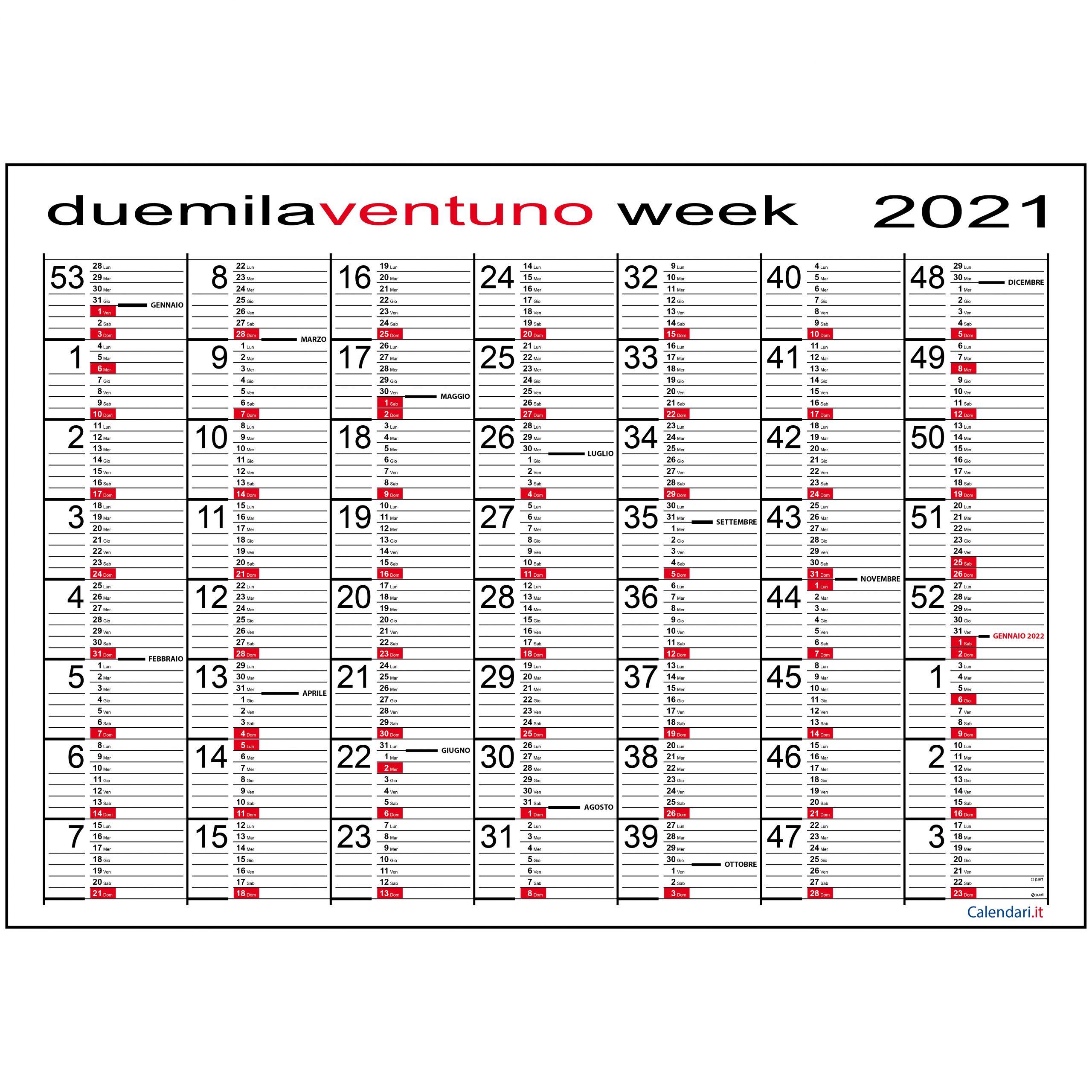 Calendario 2021 week planner planning settimanale da muro maxi
