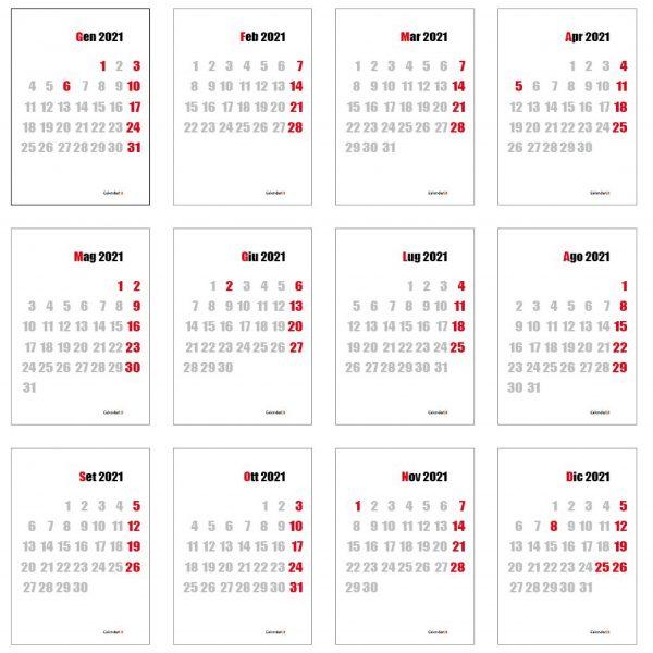 calendario 2021 12 mesi solo numeri muro elegante creativo regalo 2021