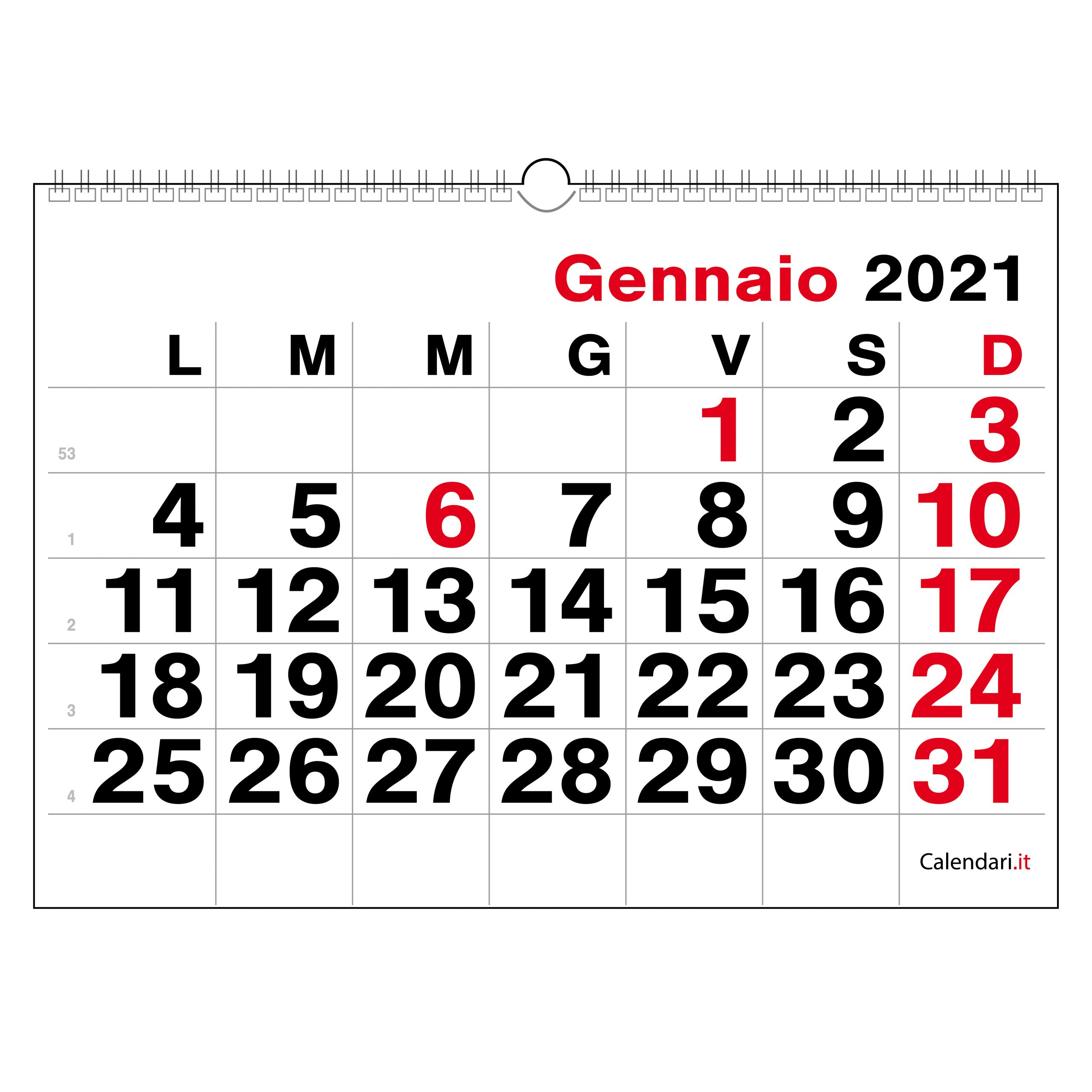 Calendario 2021 In Orizzontale Calendario 2021 numeri grandi orizzontale   Calendari.it