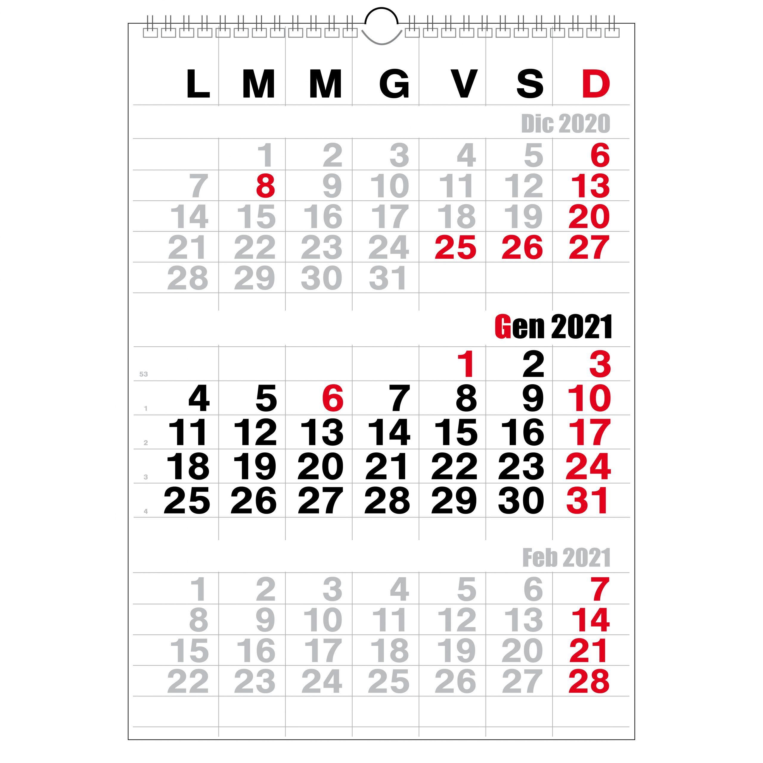 Calendario Trittico 2021 Calendario 2021 3 mesi modello trittico   Calendari.it   calendari