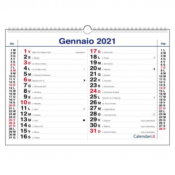 calendario 2021 olandese orizzontale da muro 12 mesi santi e lune