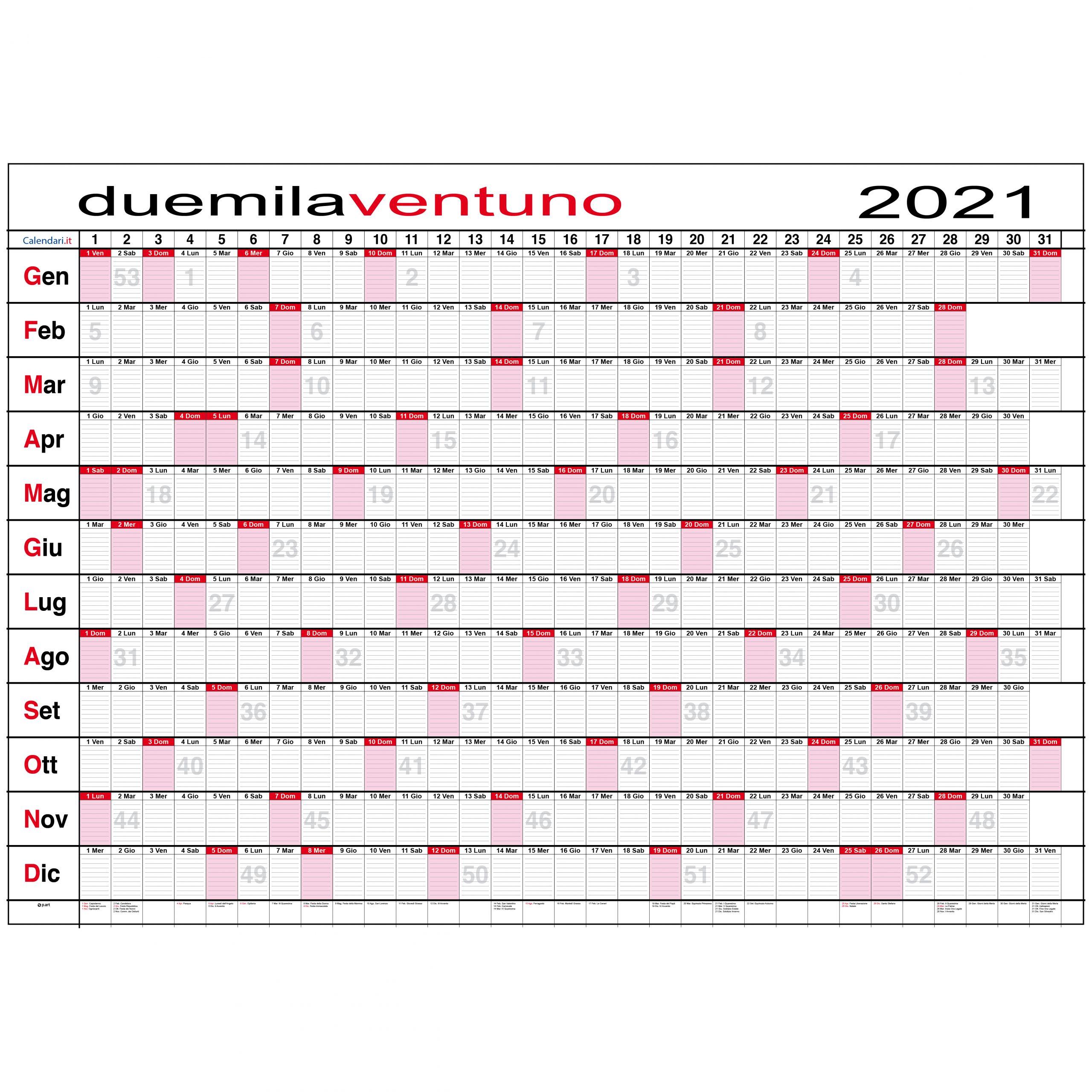 Calendario 2021 planner planning settimanale da muro maxi calendari.it