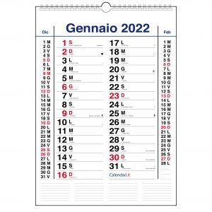 calendario 2022 da muro olandese classico 3 mesi santi e lune