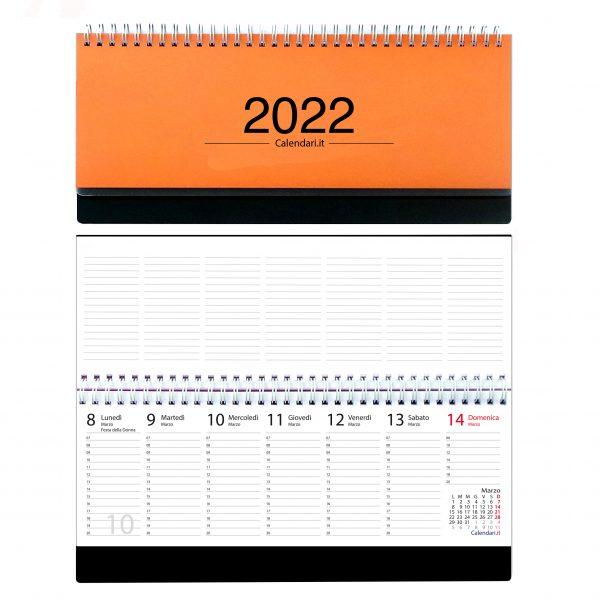 agenda 2022 settimanale da tavolo scrivania spirale ufficio arancio scuro
