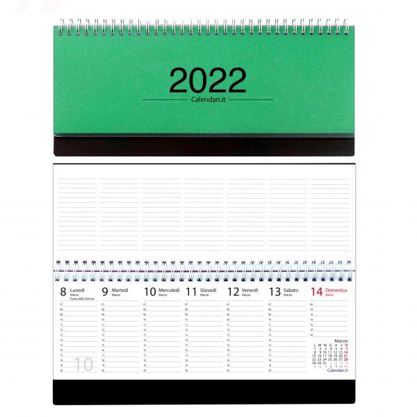 agenda 2022 settimanale da tavolo scrivania spirale ufficio verde scuro