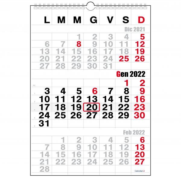 calendario 2022 3 mesi da muro trittico per ufficio