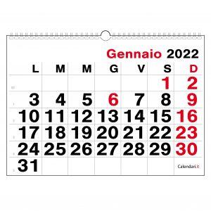 calendario 2022 da muro numeri grandi vista lontano